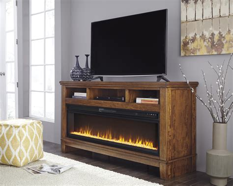 ralene medium brown xl tv stand  fireplace audio option marjen  chicago chicago