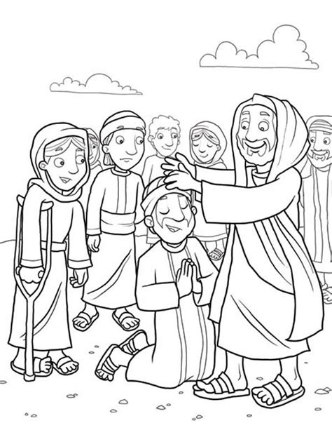 coloring pages of jesus miracles heals the sick because miracles of jesus coloring page
