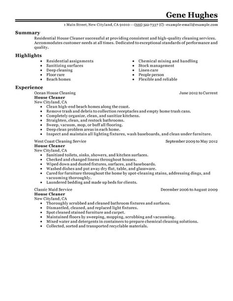 House Cleaninc Resume Builder Best Residential House Cleaner Resume Exle Livecareer