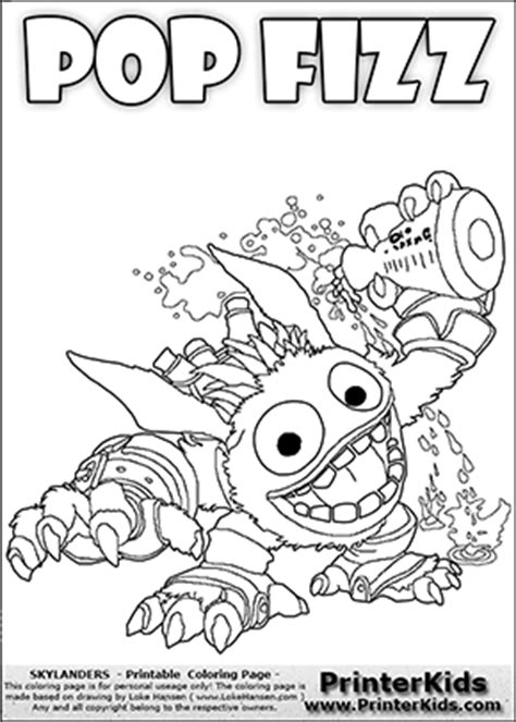 skylanders giants pop fizz free colouring pages