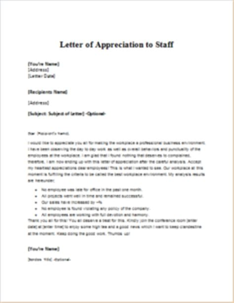 appreciation letter to when leaving a letter of appreciation to staff at http
