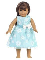 blue flower flocked tulle dress