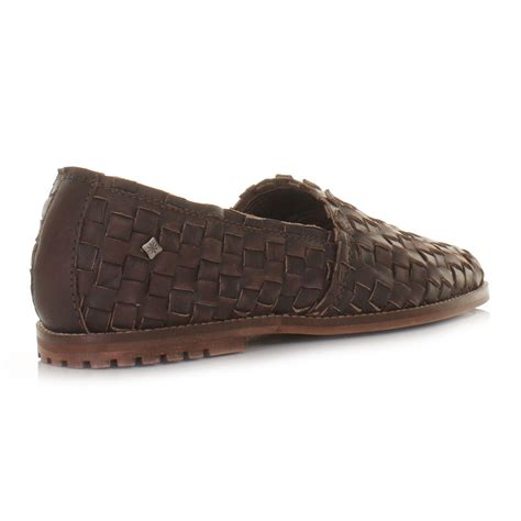 mens feud lyndon woven leather slip on shoes