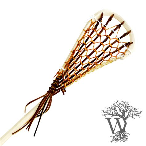 Handmade Lacrosse Sticks - wooden field lacrosse stick white leather indian