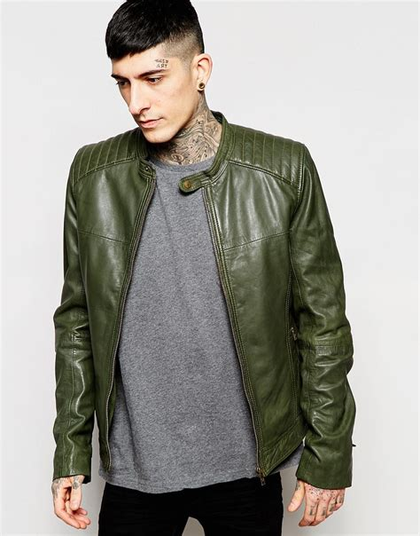 Mens Green Leather lyst goosecraft leather biker jacket in green for