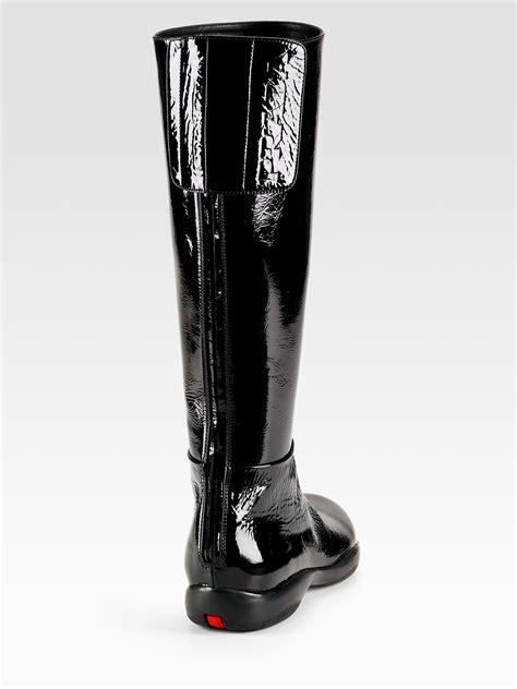 prada flat sport boots in black lyst