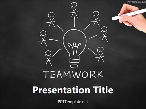 Free Teamwork Bulb Chalk Hand Ppt Template Free Teamwork Powerpoint Templates
