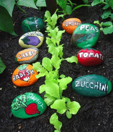 Painted Stone Garden Markers For The Vegetable Garden Vegetable Garden Labels
