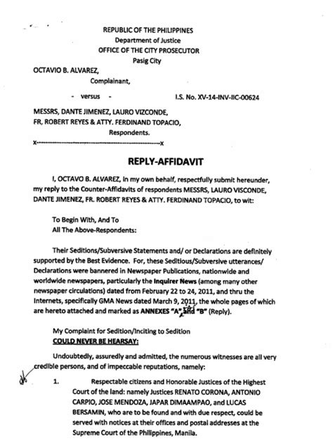 Demand Letter Estafa Philippines Reply To Counter Affidavit