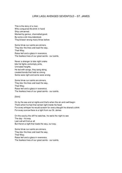 story of my life lirik lirik lagu avenged sevenfold