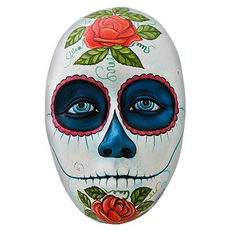 Mexican Home Decor by Ceramic Figures Day Of The Dead Mask Fam22
