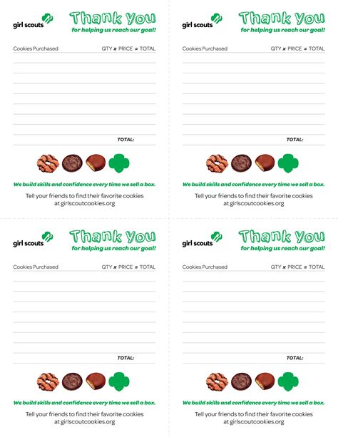 scout cookie receipt template printable scout cookie images
