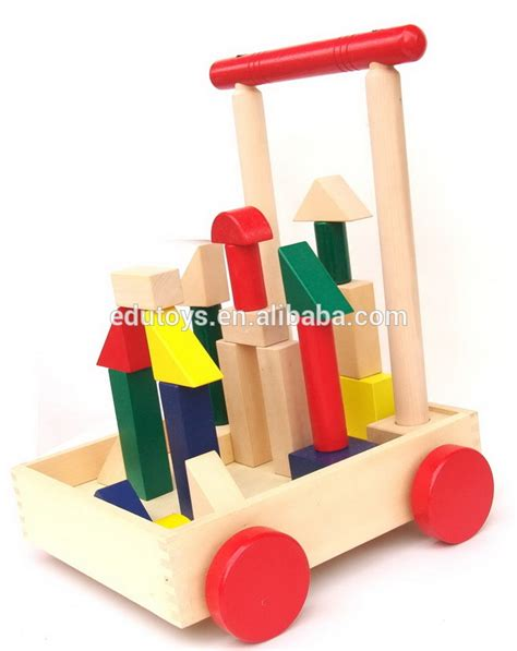 Handmade Educational Toys - high quality wooden baby walker with printing blocks