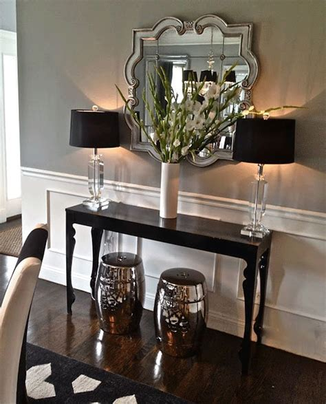 Entryway Table With Stools Underneath Great Mirror And Console Home Decor Ideas