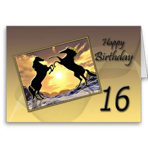 Birthday Cards With Horses On Them Age 16 Birthday Card With Rearing Horses