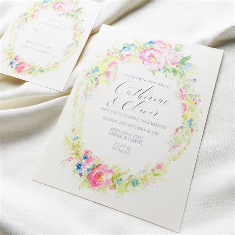 pretty moon wedding invitations a beautiful summer in pretty bright florals the enchantment painterly wedding