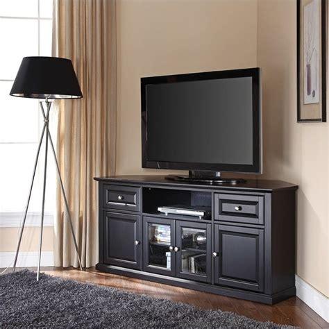 crosley furniture 60 quot corner tv stand in black cf1000260 bk