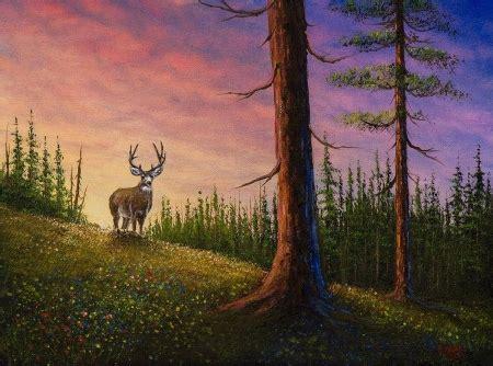 bob ross painting deer alone deer animals background wallpapers on desktop