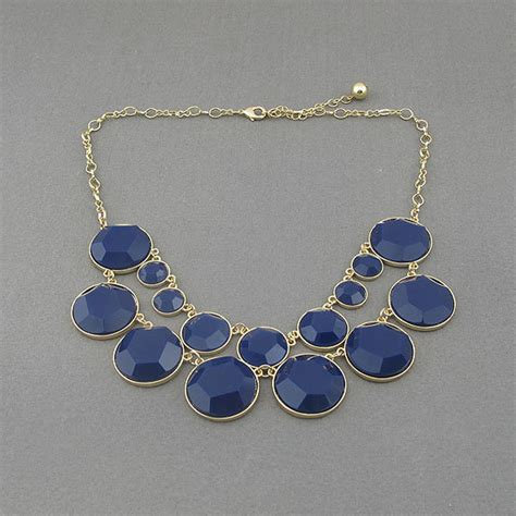 Handmade Bib Necklace - navy blue necklace beaded necklace necklace