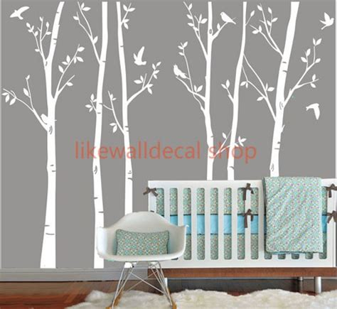 Tree Wall Art Decals Vinyl Sticker Vinyl Wall Decals White Tree Decal Nursery Six Birth Trees