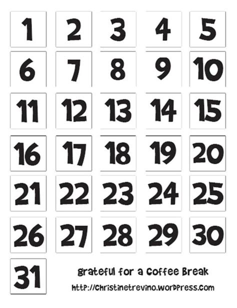 numbers schedule template calendar printable fonts and diy advent calendar on