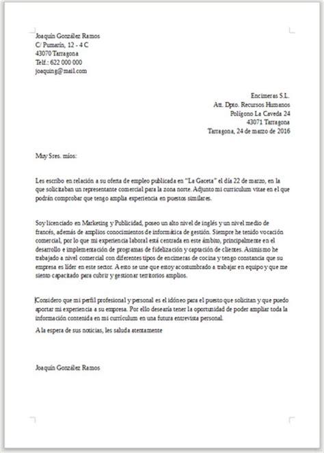 Modelo Carta De Presentacion Curriculum Administrativo Ejemplo De Carta De Presentaci 243 N Para Responsable Comercial