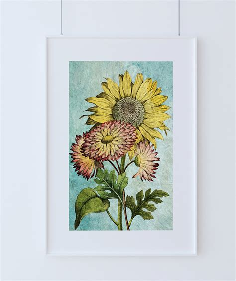 sunflowers vintage home decor wall art shabby chic gift