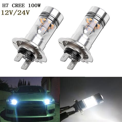 Led Cree 6 Mata 2x H7 5500k Oem White 100w Led 20 Smd Cree Led Chips Projector Fog Driving Drl Light Bulbs Car