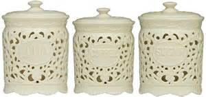 White Kitchen Canister Sets Ceramic tea coffee sugar jars lace ceramic home kitchen office