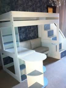 Bunk Bed With Sofa And Desk 25 Best Ideas About Elevated Bed On