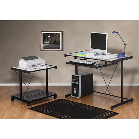 Laptop Printer Desk Computer Desk And Printer Cart Value Bundle Black Metal And Glass Walmart