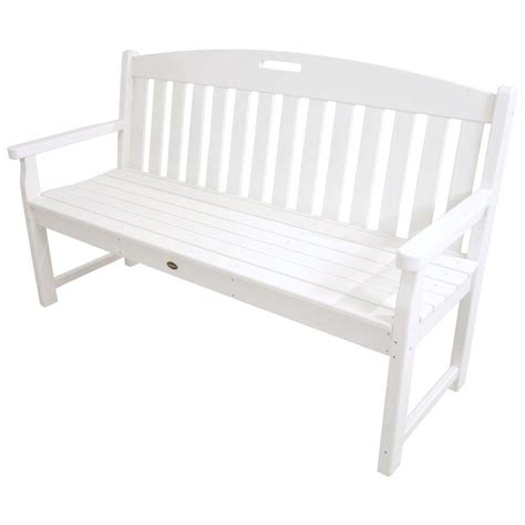 white bench trex outdoor furniture yacht club 60 in classic white