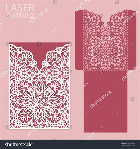 card die cut template die laser cut wedding card vector stock vector 504820864