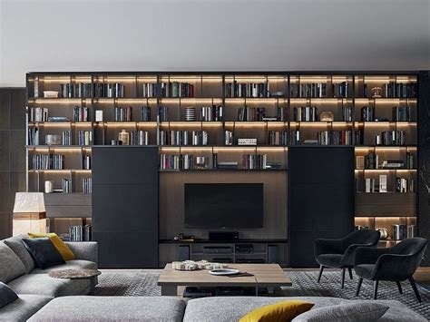 poliform librerie libreria componibile in legno wall system poliform