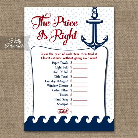 price is right bridal shower template printable price is right bridal shower nautical
