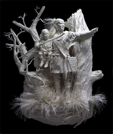 Paper Sculptures - white paper sculptures of the american west new
