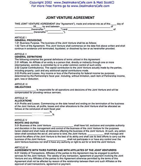 jv agreement template joint venture agreement template