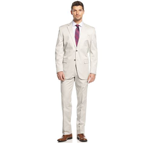 Light Suit by Perry Ellis Light Grey Cotton Suit In Gray For Light