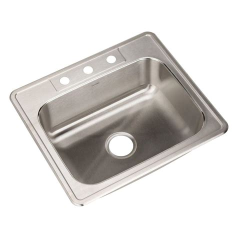 Home Depot Kitchen Sinks Stainless Steel Houzer Glowtone Series Drop In Stainless Steel 25 In 3 Single Bowl Kitchen Sink 2522 8bs3