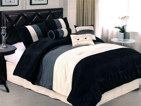 Black And White Striped Comforter Sets by 7 Pcs Sleek Contemorary Striped Satin Comforter Set Black