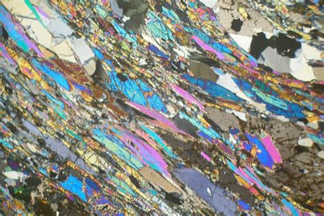 schist in thin section glaucophane schist isle de groix france thin section