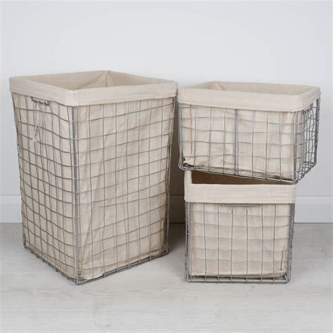 Set Of Three Metal Laundry Baskets With Jute Lining By 3 Basket Laundry