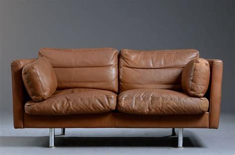 Small Danish Brown Leather Sofa Seating Apollo Antiques Small Brown Leather Sofa