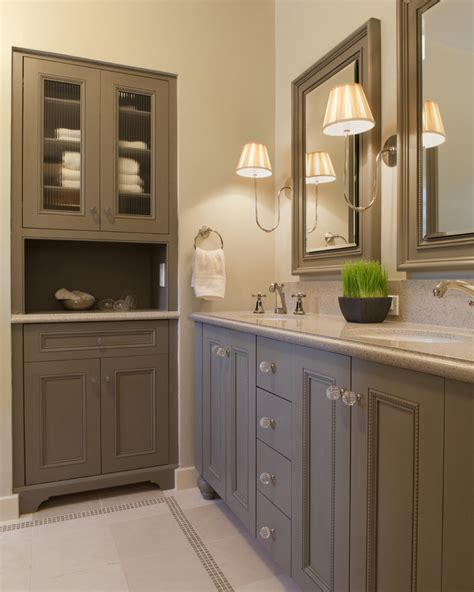 free standing bathroom cabinets with traditional sconce