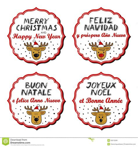 merry christmas  happy  year multilingual reindeer badges stock vector image