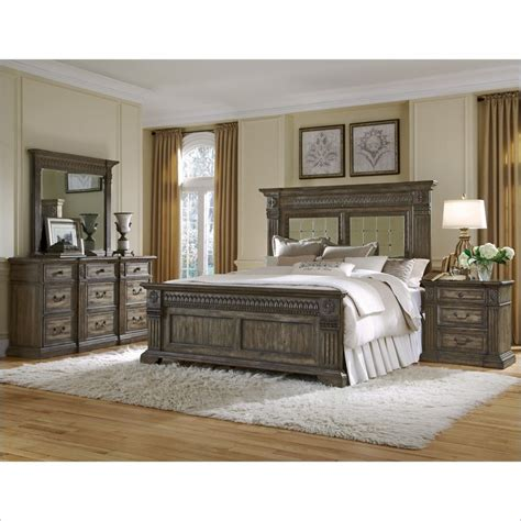 Bed And Nightstand Set Pulaski Arabella Panel Bed With Dresser Mirror And Nightstand 4 Pc Set 211150 60 10 00 Set