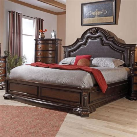 jade bedroom furniture lifestyle jade king faux leather upholstered bed with