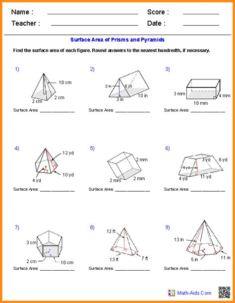 Volume Worksheets With Answers by 5 Area And Volume Worksheets Media Resumed