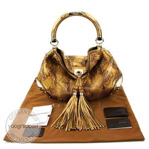 Gucci Rust Indy Large Top Handle Bag by Gucci Gold Metallic Python Large Babouska Indy Top Handle