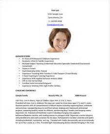 Nanny Resume Templates by Nanny Resume Template 5 Free Word Pdf Document